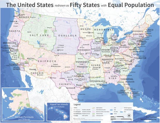 The United States Redrawn With 50 States of Equal Population